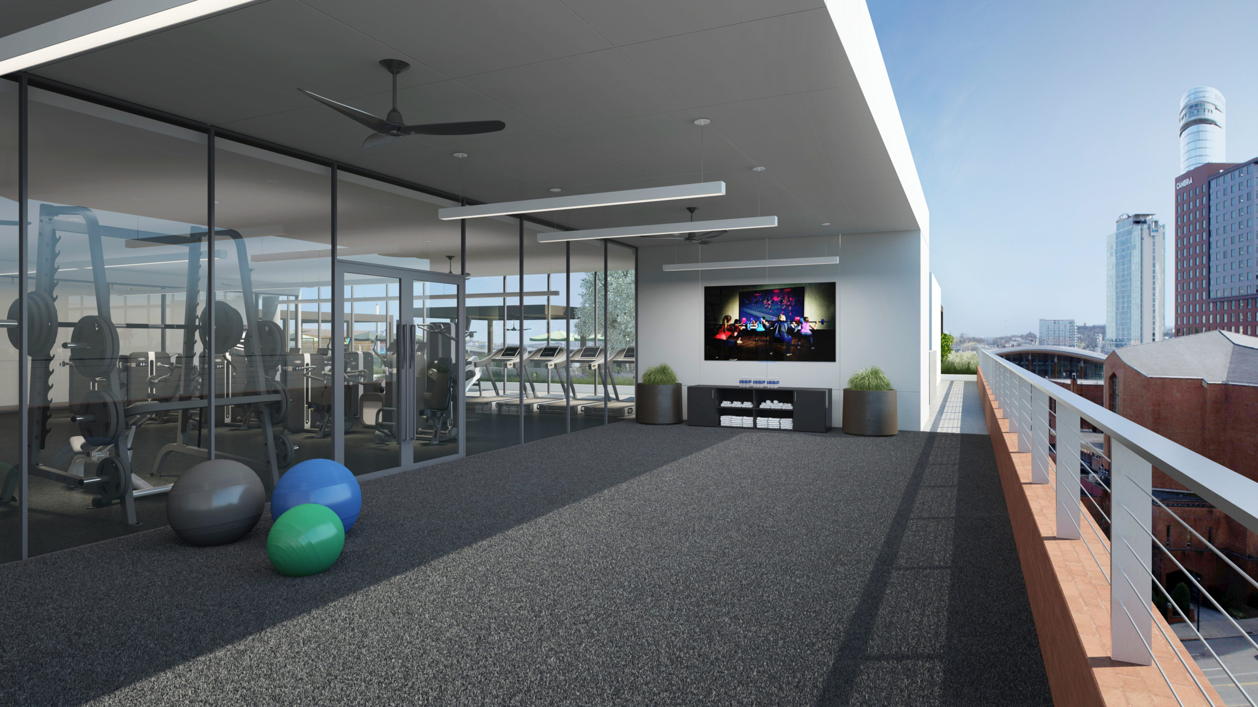 outdoor fitness center with fitness balls and tv