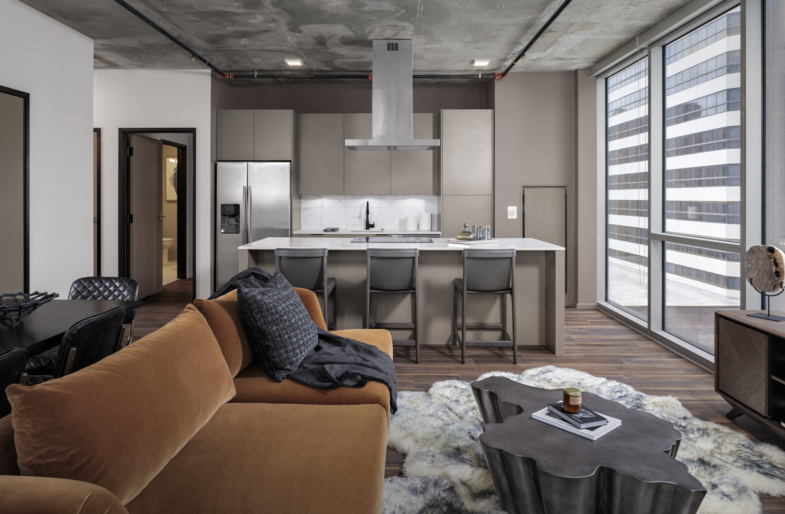 the place giant apartment open floorplan with kitchen island
